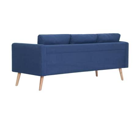 vidaXL Trivietė sofa, mėlyna, audinys[4/8]