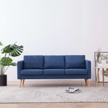vidaXL Trivietė sofa, mėlyna, audinys[1/8]