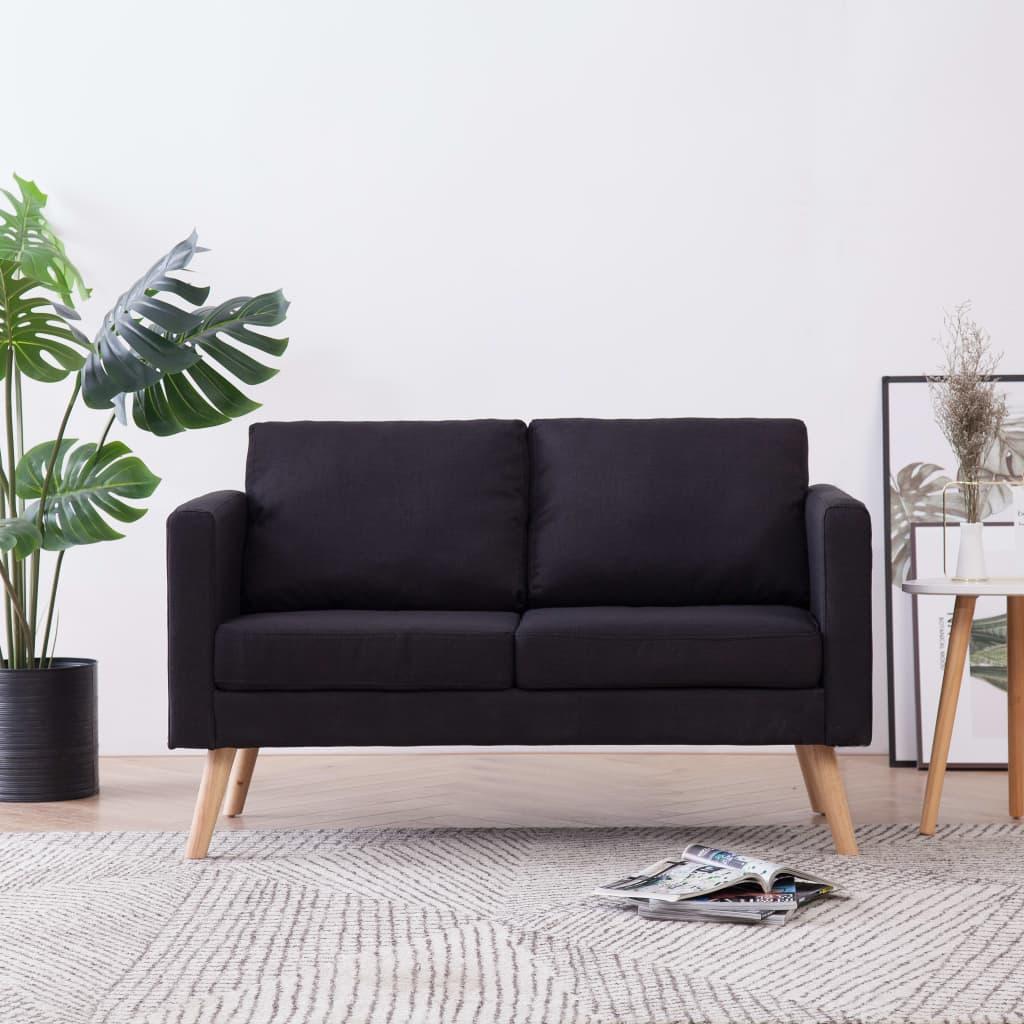 vidaXL Canapea cu 2 locuri, negru, material textil imagine vidaxl.ro