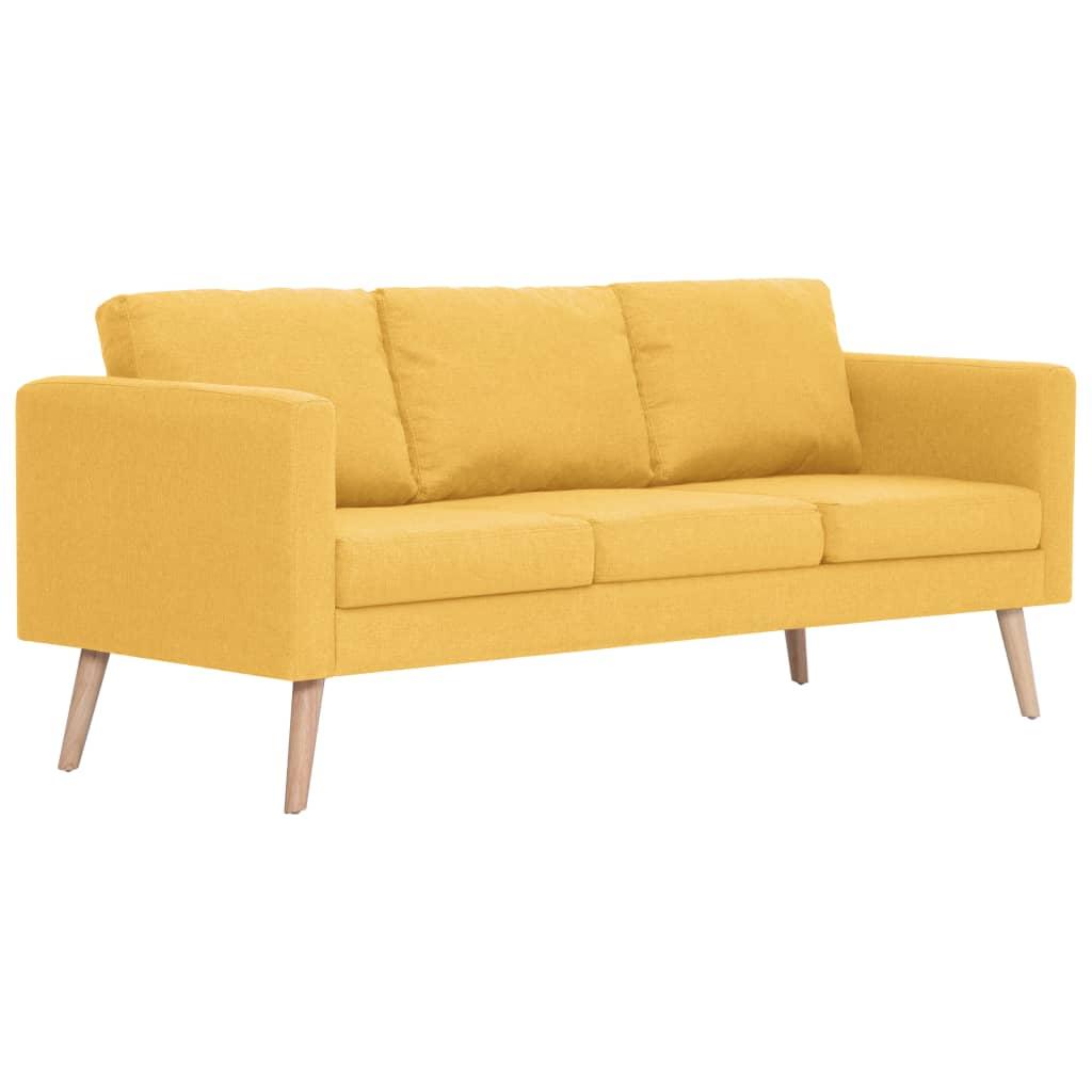 vidaXL Καναπές Τριθέσιος Κίτρινος Υφασμάτινος