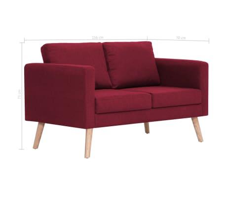 Vidaxl canap 2 places tissu rouge bordeaux - Canape rouge bordeaux ...