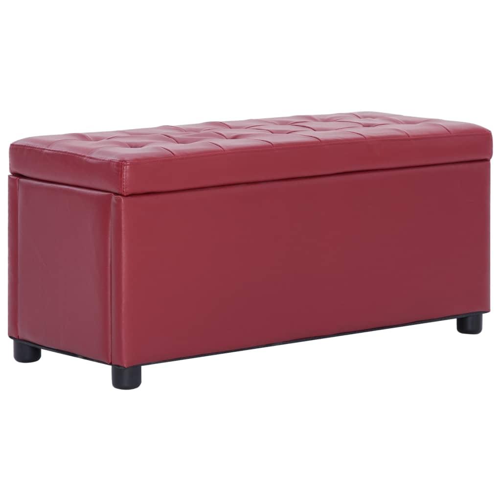 vidaXL Taburet de depozitare, roșu vin, 87,5 cm, piele ecologică poza vidaxl.ro