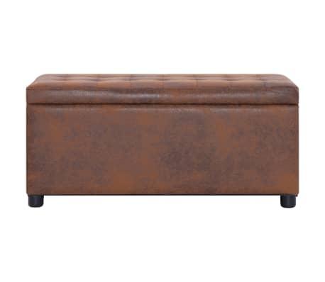 vidaXL Opberghocker 87,5 cm kunstsuède bruin[2/6]
