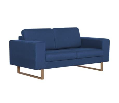 vidaXL Sofá de 2 lugares em tecido azul