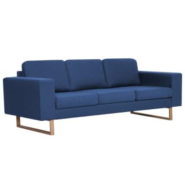 vidaXL 3místná pohovka textilní čalounění modrá[3/8]