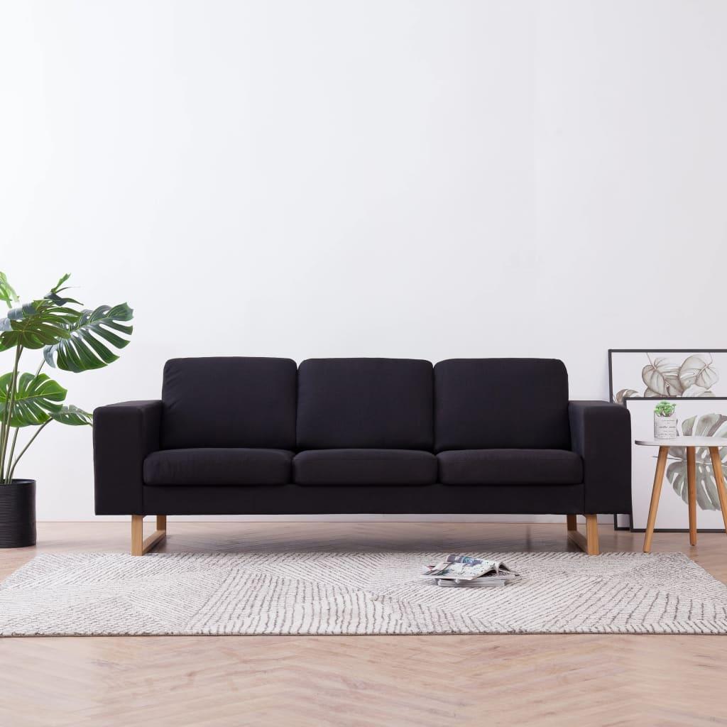 vidaXL Canapea cu 3 locuri, negru, material textil poza 2021 vidaXL