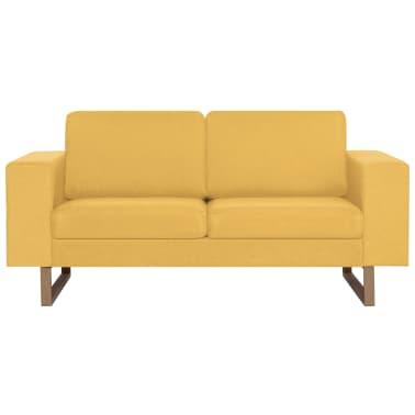 vidaXL 2místná pohovka textilní čalounění žlutá[3/8]