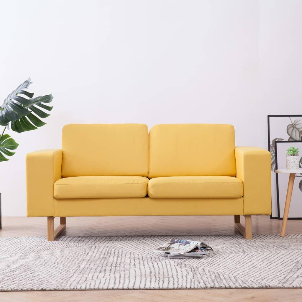 vidaXL Tweezitsbank stof geel