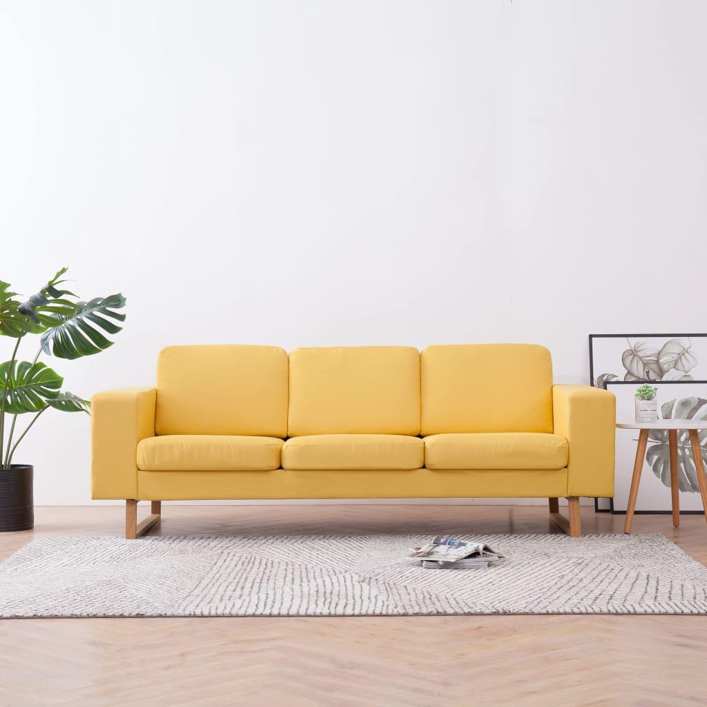 vidaXL Canapea cu 3 locuri, galben, material textil