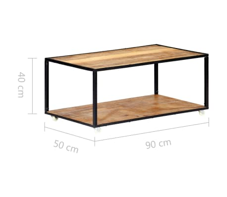 vidaXL Kavos staliukas, 90x50x40cm, perdirbtos medienos masyvas[8/13]