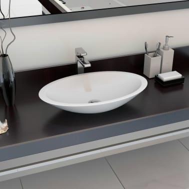 Lavabo Resina Blanco.Vidaxl Lavabo 59 3x35 1x10 7 Cm Resina Mineral Marmol Blanco