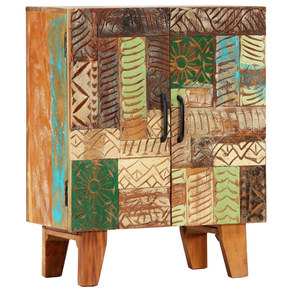 Handsnidad skänk 60x30x75 cm massivt återvunnet trä