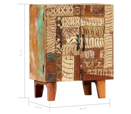 "vidaXL Hand Carved Sideboard 23.6""x11.8""x29.5"" Solid Reclaimed Wood[8/13]"