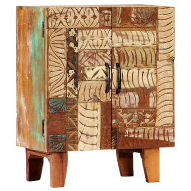 "vidaXL Hand Carved Sideboard 23.6""x11.8""x29.5"" Solid Reclaimed Wood[12/13]"