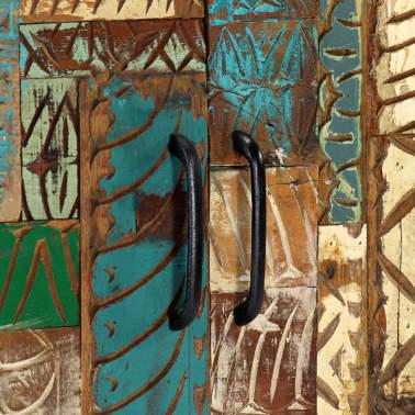 "vidaXL Hand Carved Sideboard 23.6""x11.8""x29.5"" Solid Reclaimed Wood[7/13]"