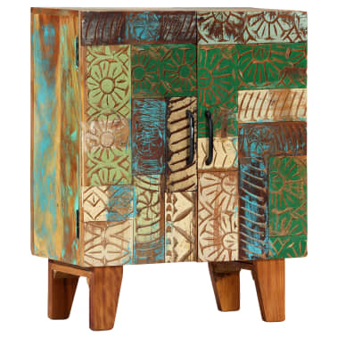 "vidaXL Hand Carved Sideboard 23.6""x11.8""x29.5"" Solid Reclaimed Wood[9/13]"