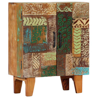 "vidaXL Hand Carved Sideboard 23.6""x11.8""x29.5"" Solid Reclaimed Wood[10/13]"