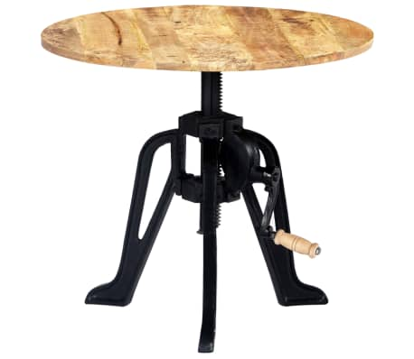 vidaXL Side Table 60x(46-63) cm Solid Mango Wood and Cast Iron[9/11]