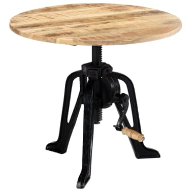 vidaXL Side Table 60x(46-63) cm Solid Mango Wood and Cast Iron[2/11]