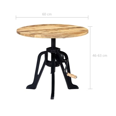 vidaXL Side Table 60x(46-63) cm Solid Mango Wood and Cast Iron[7/11]
