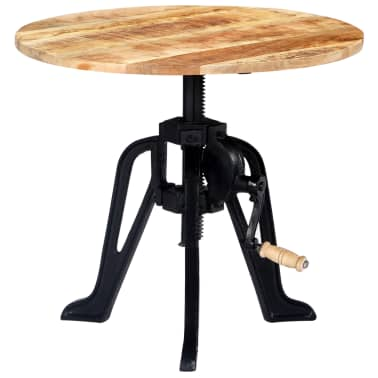 vidaXL Side Table 60x(46-63) cm Solid Mango Wood and Cast Iron[10/11]