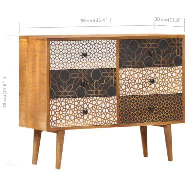 "vidaXL Sideboard with Printed Pattern 35.4""x11.8""x27.6"" Solid Mango Wood[8/13]"