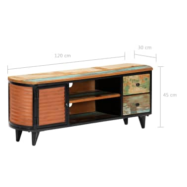 vidaXL TV Cabinet 120x30x45 cm Solid Reclaimed Wood[6/11]