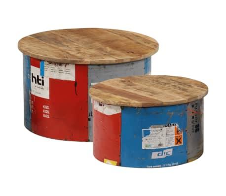 vidaXL Măsuțe de cafea, 2 buc., lemn masiv de mango