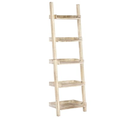 vidaXL Prateleira escada 75x37x205 cm madeira mangueira maciça branco