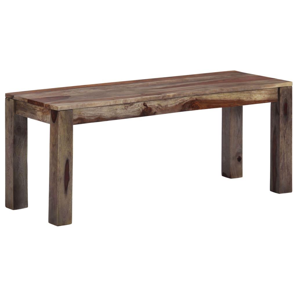 vidaXL Bancă, gri, 110 cm, lemn masiv de sheesham imagine vidaxl.ro