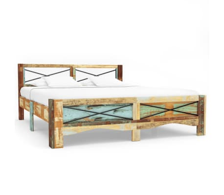 vidaXL Bed Frame Solid Reclaimed Wood 140x200 cm