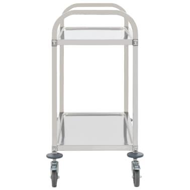 vidaXL Keukentrolley 2-laags 107x55x90 cm roestvrij staal[3/6]