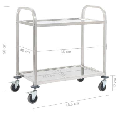 vidaXL Keukentrolley 2-laags 107x55x90 cm roestvrij staal[6/6]