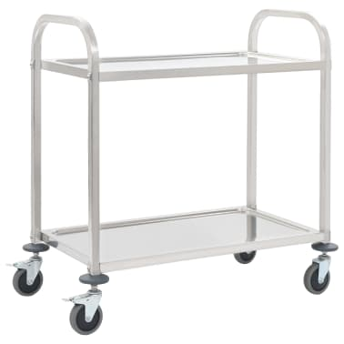 vidaXL 2-Tier Kitchen Trolley 87x45x83.5 cm Stainless Steel[1/6]