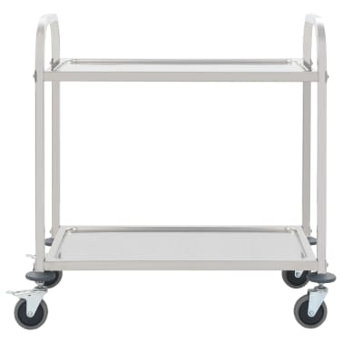vidaXL 2-Tier Kitchen Trolley 87x45x83.5 cm Stainless Steel[2/6]