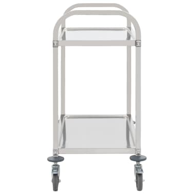 vidaXL 2-Tier Kitchen Trolley 87x45x83.5 cm Stainless Steel[3/6]
