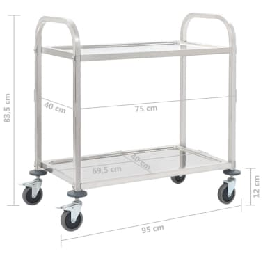 vidaXL 2-Tier Kitchen Trolley 87x45x83.5 cm Stainless Steel[6/6]