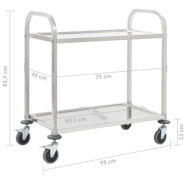 vidaXL Carrinho de cozinha de 2 níveis 87x45x83,5 cm aço inoxidável[6/6]