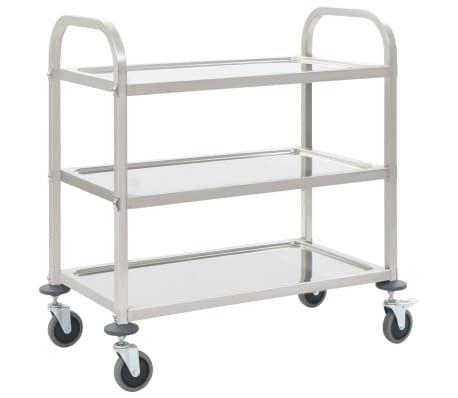 vidaXL 3-Tier Kitchen Trolley 107x55x90 cm Stainless Steel