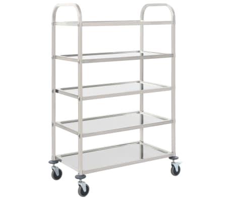 vidaXL Kuhinjski voziček 5-nadstropni 107x55x147 cm nerjaveče jeklo