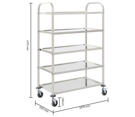 vidaXL Chariot de cuisine à 5 niveaux 107x55x147 cm Acier inoxydable[7/7]
