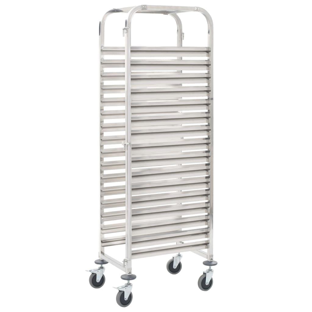vidaXL Cărucior bucătărie pentru 16 tăvi, 38x55x163cm, oțel inoxidabil vidaxl.ro