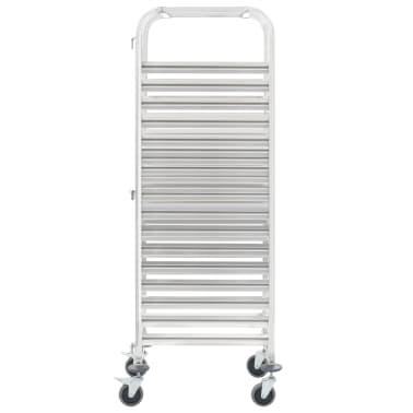 vidaXL Chariot de cuisine pour 16 plateaux 65,5x48,5x165 cm Inox[2/6]