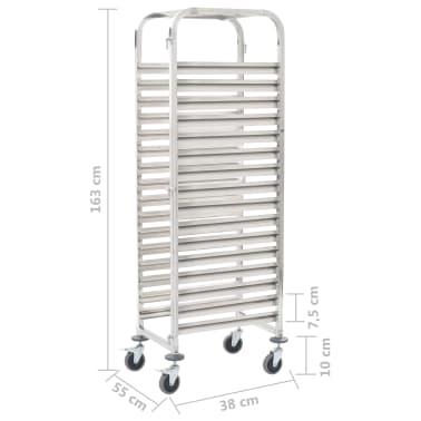 vidaXL Chariot de cuisine pour 16 plateaux 65,5x48,5x165 cm Inox[6/6]