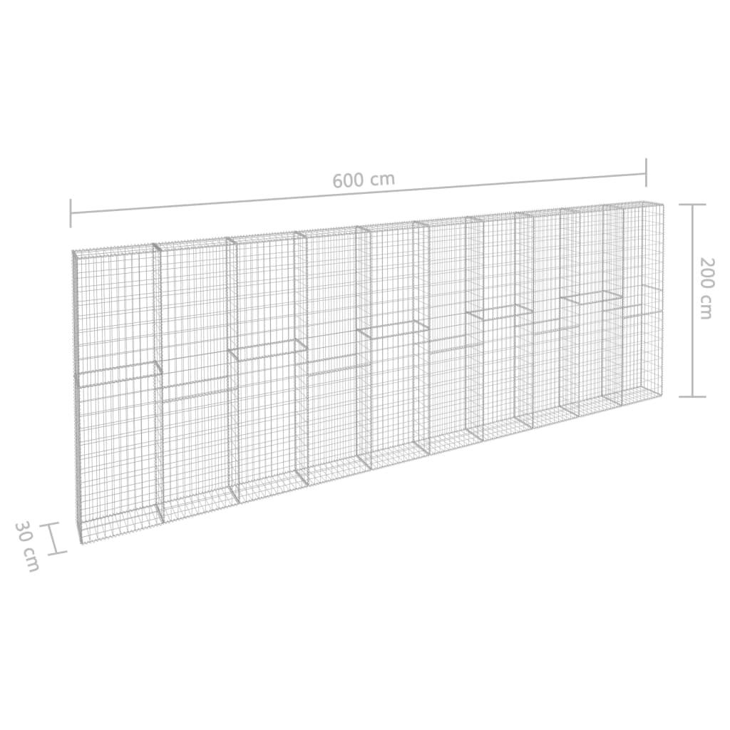vidaXL Gabionenwand mit Abdeckung Stahl 600x50x200cm Gabione Steinkorb Mauer