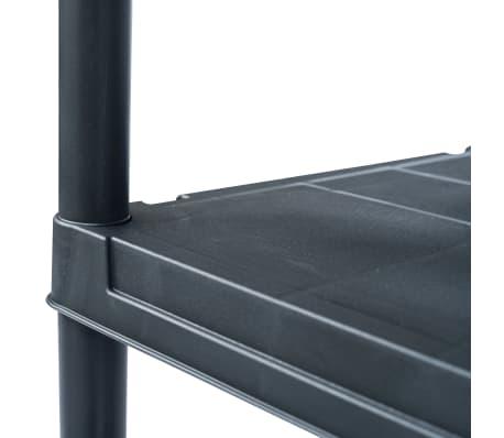 vidaXL Stojala s policami 2 kosa plastika 60x30x138 cm črna[5/9]