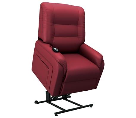 vidaXL Elektrické zdvíhacie TV kreslo, vínovo červené, umelá koža