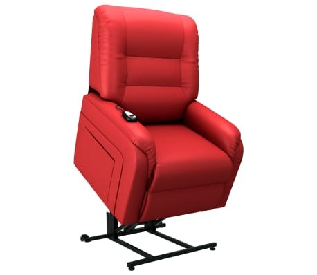 vidaXL Elektrické zvedací polohovací TV křeslo červené umělá kůže