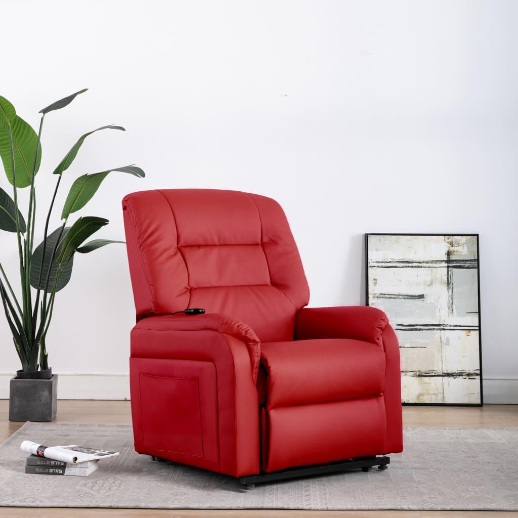 vidaXL Fotoliu TV rabatabil electric vertical, roșu, piele ecologică imagine vidaxl.ro