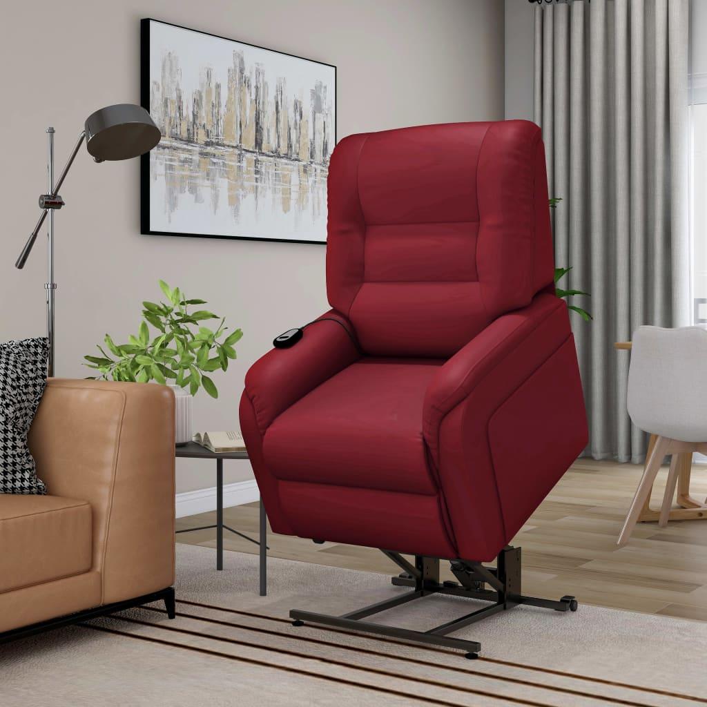 vidaXL Fotoliu TV rabatabil masaj electric roșu vin piele ecologică vidaxl.ro